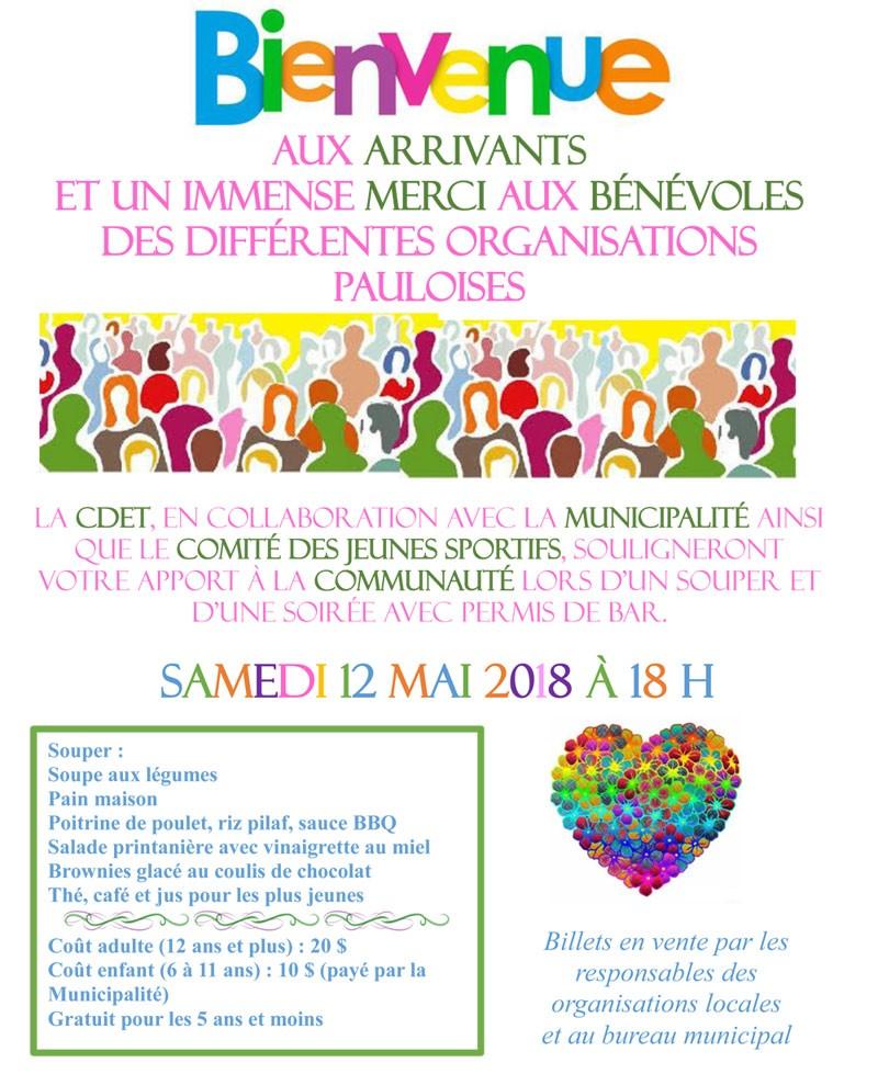 Bannière - Souper des bénévoles et des nouveaux arrivants 2018